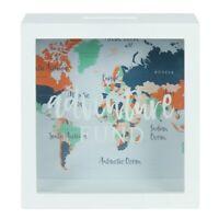 Beautiful White Adventure Awaits Fund Money Box Cash Saving Travel World Map
