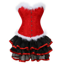 Women Red Corset Dress Christmas Costumes Plus Size Corsets Bustiers With Skirt