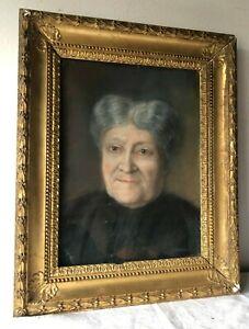 Antico quadro cornice dorata- pastello -  Ritratto di anziana donna