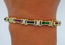 4.30 CT 14K Yellow Gold Over Tennis Bracelet Ruby Sapphire & Emerald 925 Silver