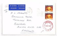 XX98 1980 ZIMBABWE Umtali Red Cancel GB Devon Airmail Cover