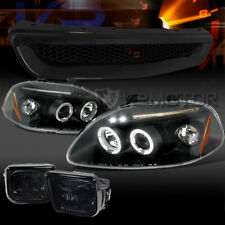 Fit 96-98 Civic Black Halo LED Projector Headlights+Smoke Fog Lamps+T-R Grille