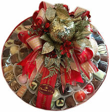 """Assorted Hand Made Belgian Chocolate Platter 14"""" 1500g Christmas Decorated"""