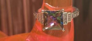 NATURAL MYSTIC TOPAZ 925 SILVER METAPHYSICAL ENERGY THERAPY ANMULET RING 7  ☮☪