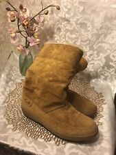 "WOMEN'S Signature COACH BROWN SUEDE ""TERI"" SHEARLING BOOTS SIZE 7.5M"