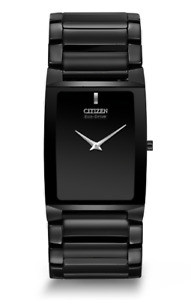 Citizen Eco-Drive Unisex AR3045-52E Stiletto Blade Ceramic Black Bracelet Watch