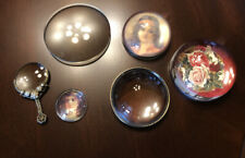 Lot Vintage Magnifying Glass Dome Paperweights Round Handheld Decorative Ornate