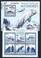COMORES KOMOREN 2009 MINI SHEET BLOCK FAUNA MiNr: 2440-44, 529 DUGONG MARINE **