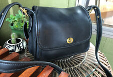 COACH Vintage Purse RAMBLER LEGACY Black Leather Crossbody Shoulder Handbag 9061