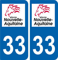 REGION AQUITAINE / 2 STICKERS AUTOCOLLANT PLAQUE IMMATRICULATION DEPARTEMENT 33