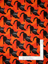 Halloween Black Cat Silver Orange Cotton Fabric Benartex Gothic Glam  - Yard
