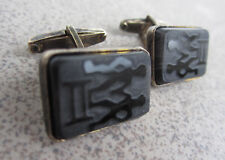 Russian Soviet Silver Cufflinks Gemini Twin onyx black stone 875 Запонки Серебро