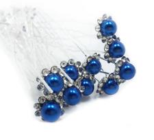 Accessoires cheveux mariage 1 lot de 10 épingles à chignon perle à strass - bleu