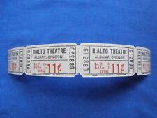 Vintage 11 Cent Rialto Theatre Tickets (Strip of 4) Drive in Movie/Cinema - OR