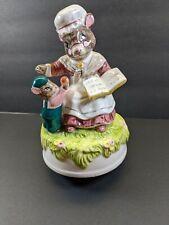 Schmid Hand Painted Music Box Mouse Reading Beatrix Potter Mrs. Tittlemouse?