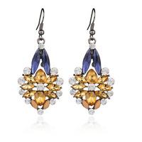Vintage Women  Champagne Crystal Resin Flower Eardrop Ear Hook Earring Jewelry