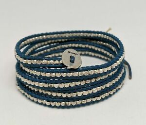 Chan Luu Women's Wrap Bracelet Natural Blue Leather 34 inch NWOT