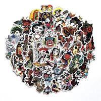 Traditional Tattoo Sticker Bomb Pack Vinyl Decal Lot Skateboard Random Mix 50 pc