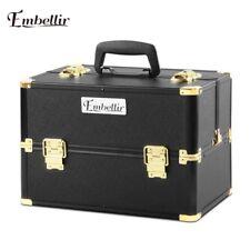 Professional Portable Cosmetics Beauty Case Makeup Bags Box Organiser Strap GOLD