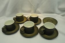 Denby Camelot Green Chevron Pattern Cups and Saucers 11 Pieces #2
