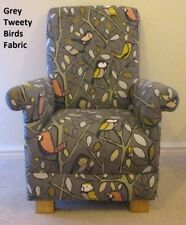 Dark Grey Tweety Birds Fabric Child's Chair Armchair Kid's Woodland Nursery New