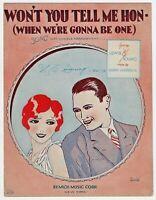 Vintage Sheet Music WON'T YOU TELL ME HON 1928 Harry Warren COVER ART