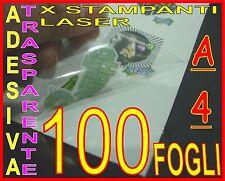 100 FOGLI PELLICOLE ADESIVE TRASPARENTE LUCIDA PERMANENT 21X29,7 STAMPANTI LASER