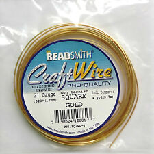 Gold plated square copper  wire 21 gauge 4 Yard - M038