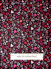 Pink Red Valentines Day Romance Heart Toss Timeless Treasures Cotton Fabric YARD