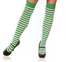Leg Avenue 6005 Nylon Striped Stockings Opaque Thigh Highs Elf O/S Green White