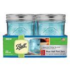 Ball Mason Jars Regular Mouth Elite Collection Half Pint SET of 4 Blue Glass NEW