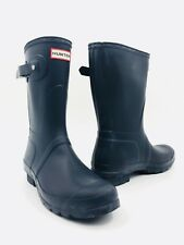 Hunter Original Short Matte Dark Blue Rubber Rain Boots Women's Size 9