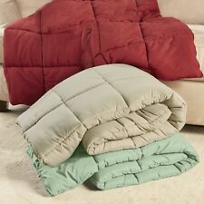 """Oversize Down Feather-Free Throw Blanket - 55"""" x 70"""" Bed Cover"""