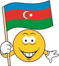 Aufkleber Smily mit Aserbaidschan Fahne Flagge Autoaufkleber Sticker