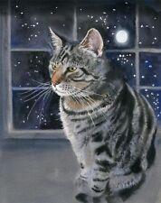 Giclee PRINT Watercolor Art Tabby Cat Art Painting Moon Stars Gray Grey Nursery