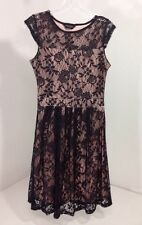 DOROTHY PERKINS WOMEN'S FLORAL LACE OVERLAY DRESS BLK/LIGHT PINK US SZ 8 NWOT