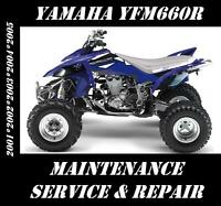 Yamaha YFM660 Raptor YFM 660 ATV Service Maintenance Repair Rebuild Manual