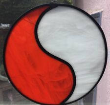 "VINTAGE Scarce Large 8"" YIN / YANG Stained Glass Art SunCatcher Window Hanging"