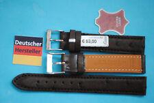 Echt Strauss Leder Uhrband 17mm dunkelbraun allergiegeschützt Made in Germany