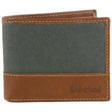 Timberland Baseline Canvas Genuine Leather Grey Passcase Bifold Wallet D28387/30