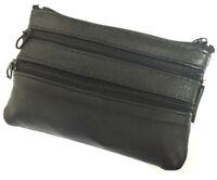 Black Leather Large Zip Coin Change  Front Pocket Keychain Purse Men Lady