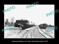 OLD LARGE HISTORIC PHOTO OF LOGANSPORT INDIANA RAILROAD DEPOT STATION c1940