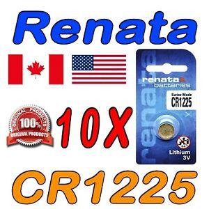 10 X RENATA CR1225 Lithium Watch Battery, 1225, 3V Swiss Made. Exp. 2024