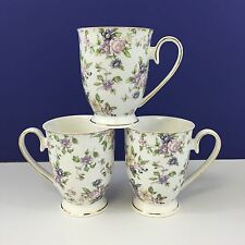 NEW!! Set of 3 Grace's Teaware Suffolk Style Coffee Mugs Floral Pattern
