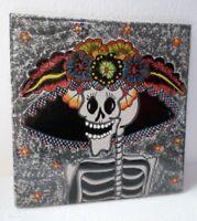 "Mexican Folk Art Talavera Ceramic Pottery Tile Trivet Catrina Day of Dead 12"""