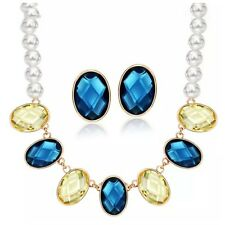 DF100 Handmade With Swarovski Crystals Blue Yellow Faux Pearl Necklace Set