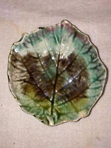 Majolica Butter Pat-Blended Geranium Leaf-European-English? Victorian Late 1800s