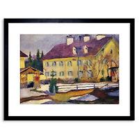 Painting Macke Hospital Tegern Sea Old Master Framed Picture Art Print 9x7 Inch