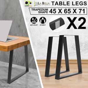 2X Coffee Dining Table Legs Bench Trapezium DIY Metal Industrial Vintage BLACK