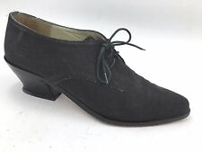Vintage VBA Black Canvas Pointed Granny Oxfords Victorian Heels size 7 Spain A13